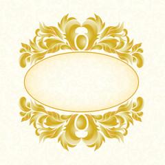 3d frame. Gold pattern white background.