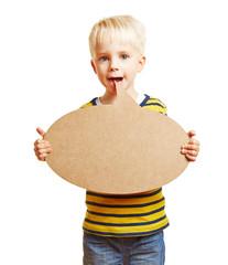Kind redet mit Sprechblase vor dem Mund
