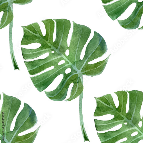 watercolor monstera leaf seamless - 73453998