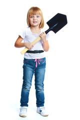 Little girl in blue jeans.