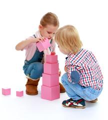 Children playing with blocks.