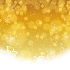 Abstract winter golden snowflakes background