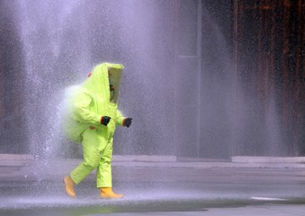 yellow suit to protect against chemical agents and viruses