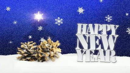 Happy New Year snow falling pinecone christmas tree blue