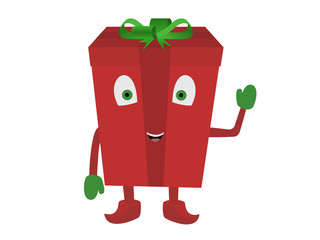 red christmas live box with eyes with hands feet illustrations