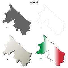 Rimini blank detailed outline map set
