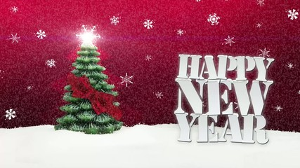 Happy New Year Christmas Tree Winter Snow red