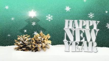 Happy New Year snow falling pinecone christmas tree