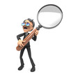 3d Business man with magnifying