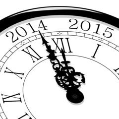 Horloge Nouvel an 2015, minuit en perspective