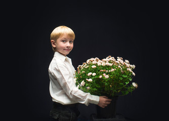Boy with a bouquet