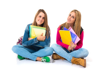 Student women over isolated white background
