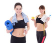 two happy slim women with yoga mat, towels and bottles of water