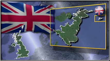 Great Britain flag and map animation