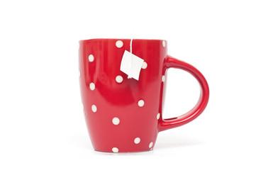 mug rouge et blanc isolé sur fond blanc