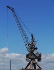 Historic harbor crane on Cockatoo Island in Sydney Harbour