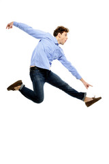 Funny man flying over white background