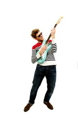 Full length portrait of a man playing on the guitar