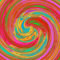 Colored twirl background - red, turquoise, yellow