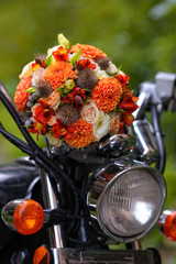 wedding bouquet on a motorcycle