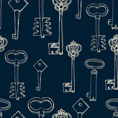 seamless pattern with retro keys