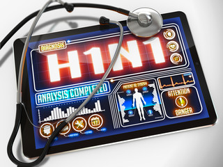 H1N1 on the Display of Medical Tablet.