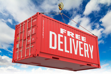 Free Delivery - Red Hanging Cargo Container.