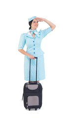 Pretty air hostess holding suitcase