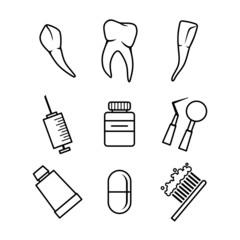 Dental icons set on white background
