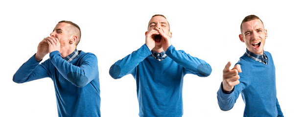 angry man shouting over isolated white background