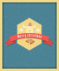 Merry christmas postcard vintage design