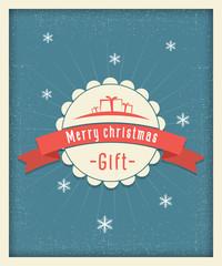 Merry christmas gift postcard vintage design