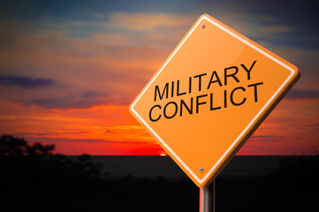Military Conflict on Warning Road Sign.