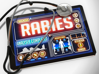 Rabies on the Display of Medical Tablet.