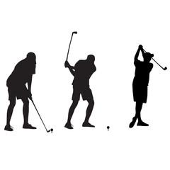 golfer takes a shot