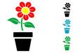 Постер, плакат: Pictograma flor en tiesto con varios colores