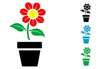 Pictograma flor en tiesto con varios colores