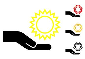 Pictograma mano con sol con varios colores
