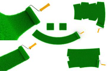Environmental Paint Concept of Green Grass.