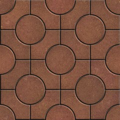 Brown Pavement - Circles inside Squares.