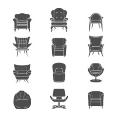 Silhouette armchair  isolated icons set