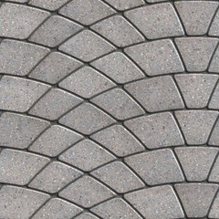 Gray Paving Slabs Laid as Semicircle.