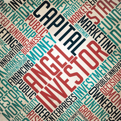 Angel Investor Background - Word Collage Concept.