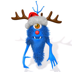Cute Monster with Christmas Reindeer Antlers