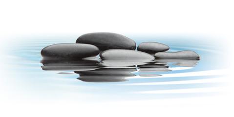 black stones on water