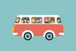 Retro bus with passengers. Flat vector concept. - 73460710