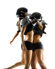 American football woman players isolated on white background