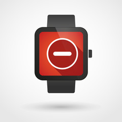 Smart watch displaying a subtraction sign