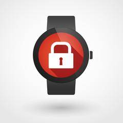 Smart watch displaying a lock pad