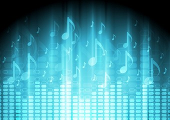 Blue music background with equalizer and notes